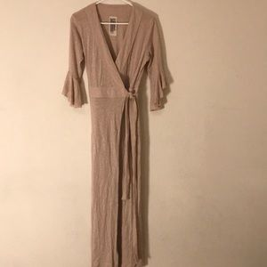 Long tan wrap dress by Free People.